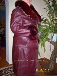 кожаное зимне-весеннее пальто
