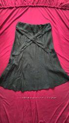 Длинная юбка трапеция цвета хаки