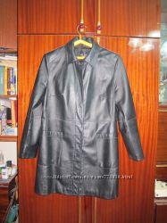 Кожанный плащ-куртка