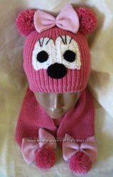 Зимняя шапка и шарфик Минни Маус