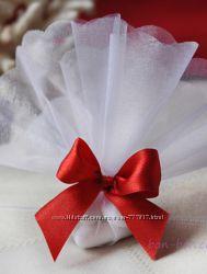 бонбоньерки на свадьбу Мешочек классический с бантом