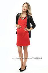 Платье миди для беременных - Красное