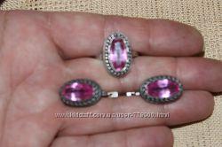 Комплект из серебра с розовым кварцем