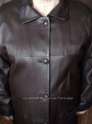 Продам стильное кожаное пальто шоколадного цвета, р. 54-56
