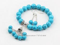Классический дизайн Streight браслет и серьги из голубой бирюзы  8-10 мм .