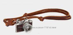 Ожерелье из натуральной кожи с ретро кулоном Фотоаппарат