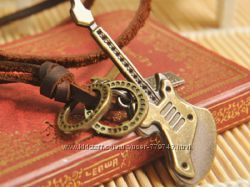 Ожерелье из натуральной кожи с ретро кулоном Гитара