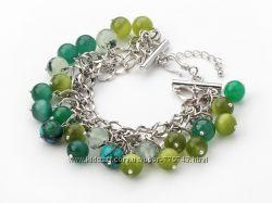 Cтильный  браслет из зеленого кошачьего глаза и зеленого кварца