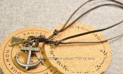 Ожерелье из натуральной кожи с кулоном Якорь