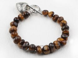 Модный браслет из тигрового глаза  с аксессуарами в форме сердца.