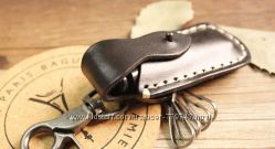 Кожаный брелок для ключей с чехлом для зажигалки