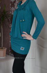 Туника-платье 3в1 бирюзового цвета. Подойдет для беременных