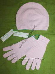 Комплект шапка и перчатки BENNETON Angora blend, оранжевый, нежно зеленый