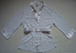 Блузка, рубашка белая полупрозрачная, под пояс GUESS размер M
