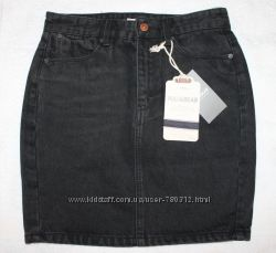 Юбка, карандаш, мини, джинс ALCOTT, PULL & BEAR, черная, синяя, XS, S, M, L