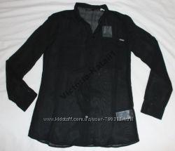 Рубашка черная полупрозрачная GUESS размер М-L