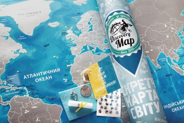Скретч карта мира на украинском Discovery Map