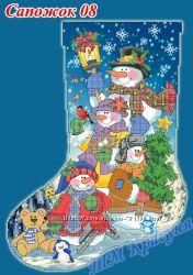 СП заготовки и пошитые новогодние носочки под вышивку