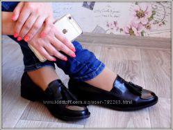 Туфли лоферы черные