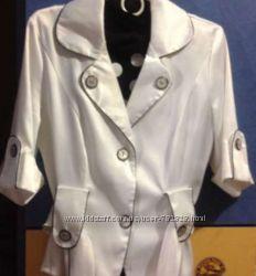 Пиджак блуза , белый сатин 46-р