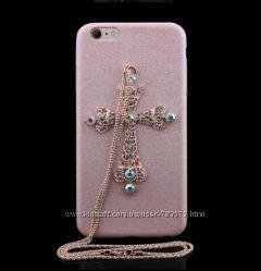 Чехол с цепочкой и крестиком со стразами На iPhone 66s