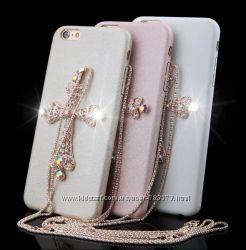 Чехлы с цепочкой и крестиком со стразами На iPhone 6 и 6s