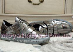 Кожаные зеркальные кроссовки Philip Plein