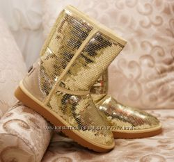 Угги в пайетках золото суперцена