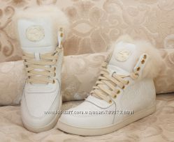 Зимние ботинки кеды Gucci с опушкой