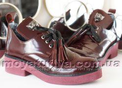 Шикарные кожаные туфли ботильоны цвет марсала