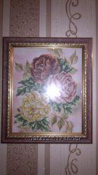 Картина вышитая бисером в рамке Розы