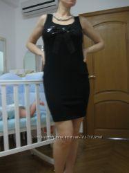 Стрейчевое Черное платье с красивым бантом Junker