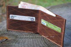 Кожаный тонкий бумажник. Кожаный кошелёк. Кожаный бумажник. Ручная работа.
