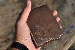 Бумажник из кожи. Кожаный кошелёк. Кожаное мужское портмоне. Ручная работа.