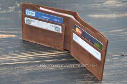 Кожаный кошелёк ручной работы. Кожаное портмоне. Кожаный бумажник.