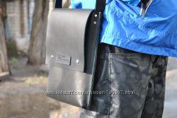 Кожаная чёрная сумка. Мужская Кожаная сумка. Кожаный портфель. Ручная работа.
