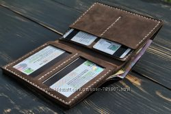 Кожаное портмоне. Кожаный кошелёк. Кожаная бложка для прав.