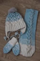 Крутой зимний комплект ручной работы, градиент, состояние нового