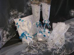 свадебные перчатки, подвязку, подушечку под кольца