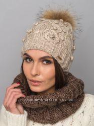 В наличии. Зимняя шапка с меховым бубоном енота, 5 цветов