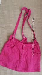 Юбка ярко-розовая на подтяжках