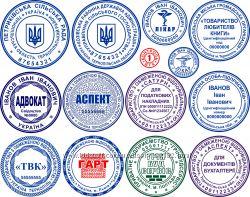 Круглые печати, прямоугольные штампы