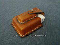 Кожаный чехол для сигарет и зажигалки