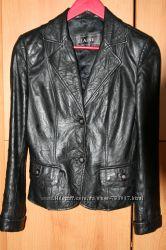 Кожаная куртка-пиджак весна-осень Турция черная