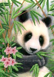 Панда. Ткань с рисунком для вышивания бисером ТМ Маричка