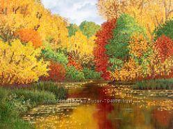 Схема для вышивки бисером Осенний пруд