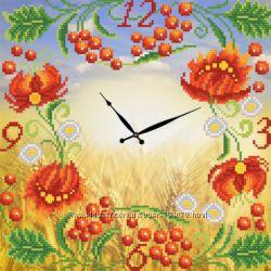 Часы. Петриковская роспись. Схема для вышивки бисером