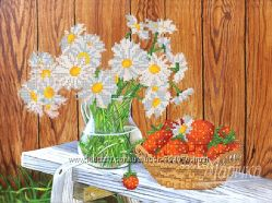 Июньский натюрморт. Ткань с рисунком для вышивания бисером ТМ Маричка