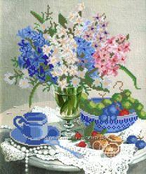 Весенний букет. Ткань с рисунком для вышивания бисером ТМ Маричка