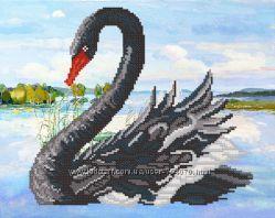 Черный лебедь Ткань с рисунком для вышивания бисером ТМ Маричка